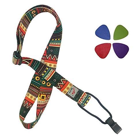Rétro style ethnique imprimé bracelet ukulélé réglables (sangle de cou