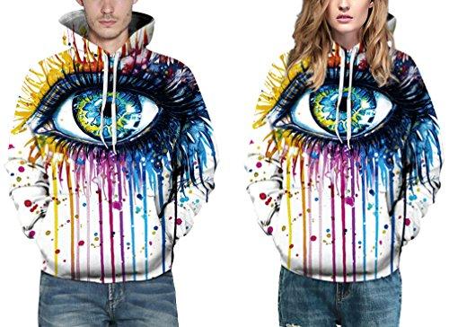 EmilyLe Herren Bunte Pullover mit Taschen Hoodie Long Sleeve Kapuzenpullover 3D Druck Cartoon Muster Sweatshirt farbig Augen