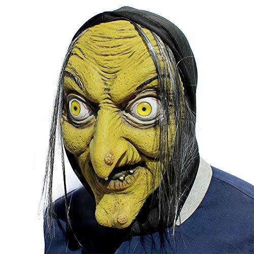 Gruselig gruselig Halloween und Weihnachten Horror kleine Hexe Maske Cosplay Kostüm Maske Latex Terror Unisex Erwachsene Dekoration - Sich Riss Legging Kostüm