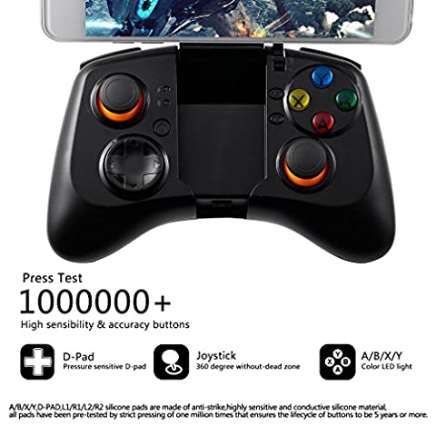 Manette de Jeu, Footprintse Rechargeable Manette de Jeu Bluetooth Sans Fill Compatible pour Android PC et IOS/Smartphone/Tablette/Smart TV/TVBox/Xbox (TI-582)