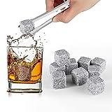 HOMPO® Lot de 9 Whisky à Pierres en Granit Glaçons en Pierres Cooler Rocks Spiritueux Vins avec Pochette - Gris Clair