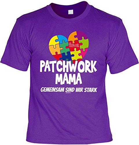 T-Shirt - Patchwork Mama - Gemeinsam sind wir stark - cooles Shirt mit lustigem Spruch als Geschenk zum Muttertag Lila