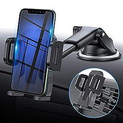 miracase MOVING LIFE Handyhalterung Auto, 3 in 1 KFZ Handy Halterung, mit Saugnapf Lüftung Handyhalter, 360° drehbare Autohalterung Silikon Schutz für iPhone, Samsung, Huawei, Sony, One Plus usw