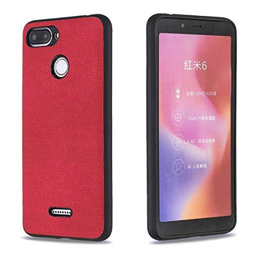 Lotuslnn para Xiaomi Redmi 6/Xiaomi Redmi 6A Tela Silicona Funda Protection Anti-Choque Tela Suave TPU Ultra-Delgado Caja del teléfono móvil Caso para Xiaomi Redmi 6/Xiaomi Redmi 6A-Rojo