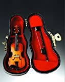 Violin Music Instrument Miniature Replica on Stand with Case, Size 3 in