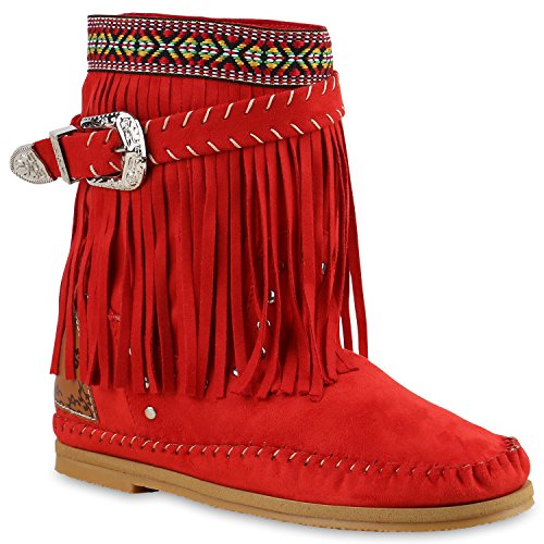 Damen Ethno Stiefel Fransen Stiefeletten Nieten Schlupfstiefel Mokassins Schnallen Damen Festival Boots Schuhe 136267 Rot 37 Flandell (Mokassin Stiefel)