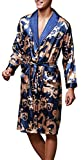 Edith qi Uomo Accappatoio, Lungo in Raso Pigiami e abbigliamento/Notte Satin Vestaglie/Kimono Bagno Vestito, Evening Dressing Gown, L-XXL, Multicolore & Stili di Moda