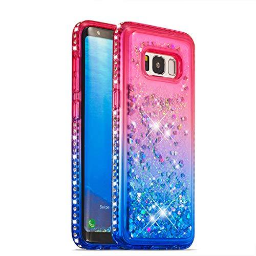 s Hülle Glitzer Gradient Rosa Blau Herz Flüssigkeit Fließende Liquid Weiche Silikon Durchsichtige Schale Bumper Etui für Galaxy S8 Plus,Pink Blue Liquid ()
