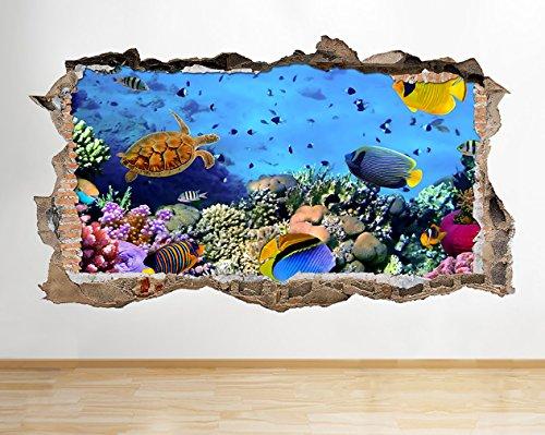 W051Aquarium Fish Ocean Sea Coral Wand Aufkleber 3D Poster Art Aufkleber Vinyl Zimmer (Riesige (100x - Fish Ocean Tank