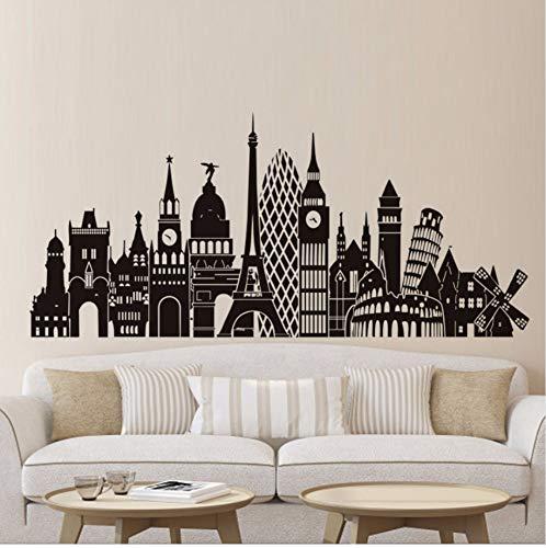 Kuamai Europa St?Dte Landschaft Wandtattoo Beliebteste Geb?Ude Aufkleber Selbst Vinyl Wandkunst Klebstoff Tapete Wohnkultur Muursticker