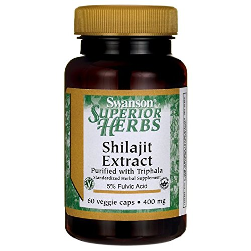 Swanson Superiour Herbs Shilajit Extract 400mg (60 Veggie Caps) (Swanson Herbs Superior)