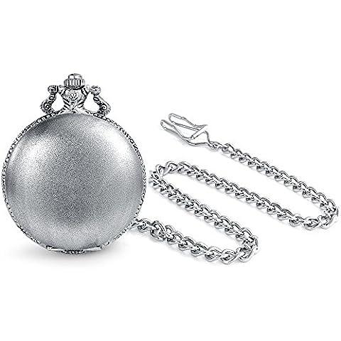 Bling Jewelry Numero romano Mens orologio da tasca in stile antico placcato in rodio incisione gratuita