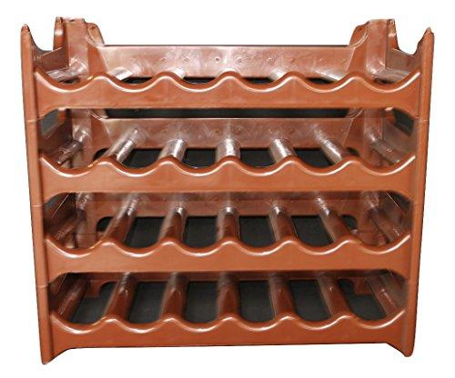 Rack Spirituosen-wand ( Weinregal stapelbar kunststoff für 24 Flaschen, stabiles leichtes Flaschenregal für Keller, Gastronomie und Lagerraum, modular erweiterbare Flaschen- und Weinlagerung, braun)