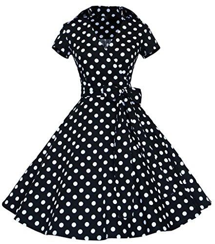 Mochoose Robe de Soirée Cocktail Party cérémonie Vintage Années 50's À Pois Manches Courtes pour Femme Noir Pois