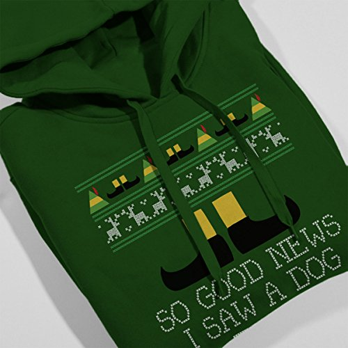 Good News Elf Quote Christmas Knit Women's Hooded Sweatshirt Bottle Green