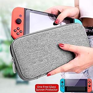 Tasche für Nintendo Switch, VAGHVEO Harte Reise Hülle Case Taschen Aufbewahrung Cover mit Speicherplatz für 10 Spielkassetten und Zubehörbeutel + 1 Stück Displayschutzfolie für Nintendo Switch, Rot