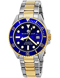 Henry Jay Men's 23 K gold plated solid stainless steel, two tone specialty aqua master professional diving watch with date.