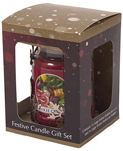 Yankee Candle Halterung für Duftkerzen der Gr.L im Glas, Design: Weihnachtsmann, Schneemann oder Rentier; optional mit Duftkerze, metall, silber, Reindeer Holder & Jar Gift Set (Rote Gold Schürze Mit)