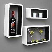 ts-ideen - Juego de estantes rectangulares de pared (3 unidades), diseño retro, color blanco y negro
