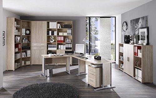 11-teiliges Büro Arbeitszimmer Büromöbel mit Winkelschreibtisch, Rollcontainer, Highboard und grosser 220 cm hoher Schrank- Regalwand