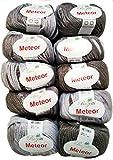 10 x 50g Meteor Wolle für Stricken und Häkeln mit Glitzer taupe grau 400-07