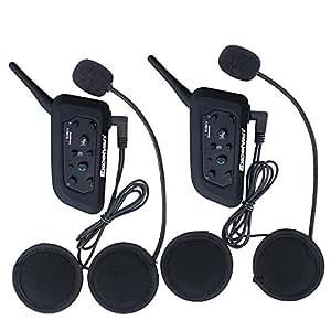 Excelvan 2x BT Moto Casque Bluetooth Moto Interphone pour 6 coureurs Casque 1200m