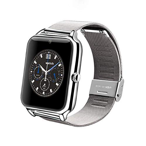 pcjob Smart Watch Z60 Orologio Telefono Bluetooth per Samsung Galaxy A5, A6, A6 Plus, A7, A8 2018 Silver