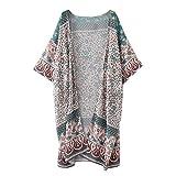 Femmes Kimono Long à Imprimé Floral,OverDose Bohemia Mousseline Top Cover Up Blouse