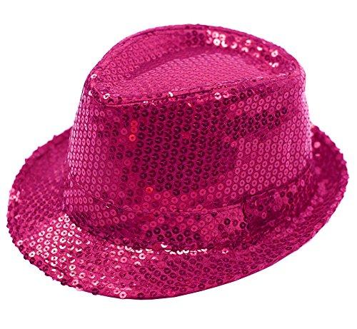 FEDORA TRILBY GANGSTER SEQUIN HAT GLITTERY JAZ UNISEX CAP HIPHOP FANCY DRESS