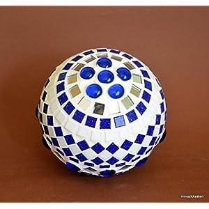 Handgefertigte Rosenkugel weiß blau spiegel 12 cm