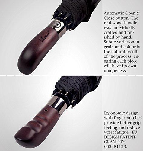 (Designed in Britain) Balios® Handmade Real Wood Handle Double Canopy Umbrella Windproof Fiberglass Auto Open & Close Folding -Premium 300T Finest Fabric-Uniquely Strong-Men's Ladies-High Quality-BLACK