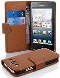 Cadorabo Hülle für Huawei Ascend G525/ G520 Hülle in Cognac braun Handyhülle mit Kartenfach aus Struktriertem Kunstleder Case Cover Schutzhülle Etui Tasche Book Klapp Style Cognac-Braun