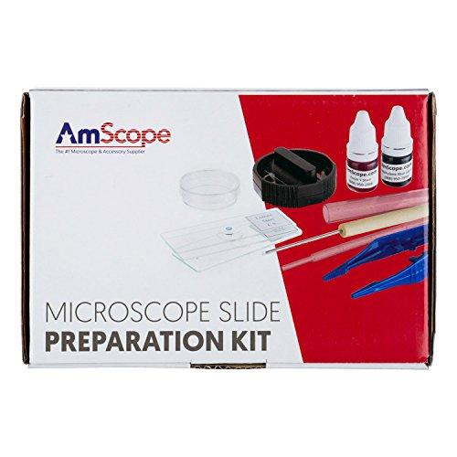 AmScope SP-14Mikroskop-Objektträger, Vorbereitungs-Kit, einschließlich Farben - Mit Objektträger Abdeckungen