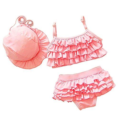 OMSMY Bikini Mädchen Baby 3tlg Mütze + Top + Unterteil Sonnenhut Baby Neckholder Spitze Bikini ... ( S (Körpergröße 80-90CM), Rosa)