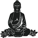 Wadeco Sitzender Buddha Wandtattoo Wandsticker Wandaufkleber 35 Farben verschiedene Größen, 40cm x 40cm, schwarz