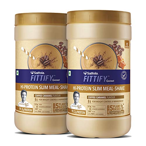 Saffola FITTIFY Hi Protein Slim Meal-Shake, Meal Replacement with 5 superfoods, Coffee Caramel, 420 gm (12 servings)-Buy One Get One Free
