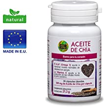 Chia, Aceite de Chia, Cápsulas de Aceite de Chia, 30 cápsulas blandas, 100% natural, extracto de semillas de chia, buena para el corazón. (30)