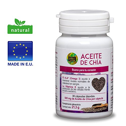 Chiaöl, 30 Chia Öl Kapseln für einen normalen Blutdruck, Blutzucker- und Cholesterinspiegel, 100% natürlicher Chiasamen Extrakt mit Omega 3, 6 und 9, geeignet für Veganer