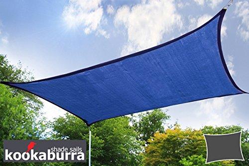 Kookaburra 4,0m x 3,0m Rechteck Blau Atmungsaktives Party-Sonnensegel (Strickgewebe 185g)