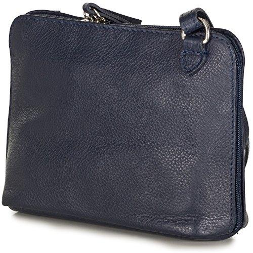 c00b5297e0c01 Taschenloft kleine Umhängetasche Schultertasche Crossbody Bag Nappa Leder  Damen (20x16x7 cm) Dunkelblau ...