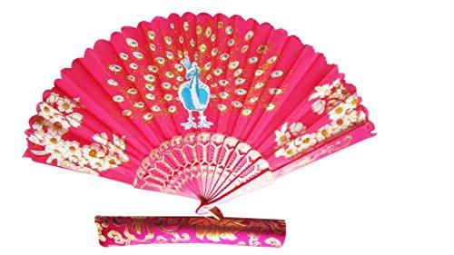 f-p2-oriental Fan Party Kostüm Kunststoff Seidiger Satin Faltfächer mit Pfau und Blumen on-dark Pink -