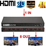 DishyKooker Ul/tra HD 4K HDm/i Splitter 1 in 8 Out 8 Port Repeater Amplifier H/UB 3D 1080p US Plug Christmas