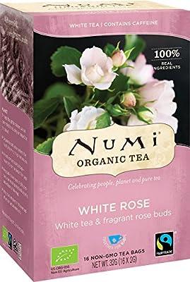 NUMI - Thé Naturel Rose Blanche - Thé Blanc aux Bourgeons de Roses - Fairtrade - Sacs Recyclables - Sans OGM - 16 filtres