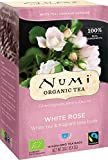 NUMI - Naturweißer Rosen-Tee - Weißer Tee mit duftenden Rosensträußen - Fairtrade - Recycelbare Kekse - Non-GMO - 16 Filter