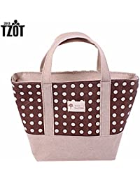 EasyBuy India Red : Fashion Dots Women Shopping Storage Bag Shopper Tote Zipper Eco Cotton Blend Shoulder Casual...