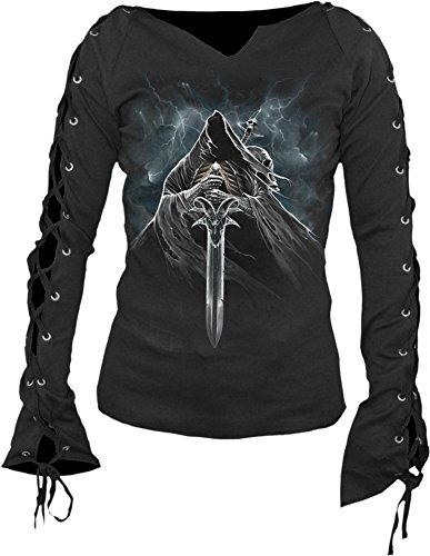 Spiral - Le donne - Grim Rider - Laceup Sleeve Top nero Black XXL