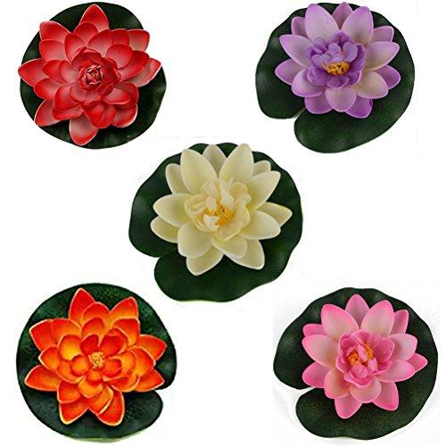 Bestim incuk 5Farben Künstliche Schaum schwimmende Seerose Lotus Blumen Pflanzen für Gartenteich Aquarium Fisch Tank Dekoration