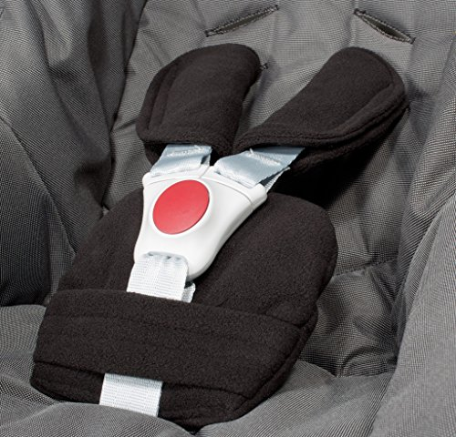 ByBUM® - Protectores para arnés o cinturón de seguridad - Aptos para portabebés, cochecitos, sillas de seguridad (p. ej. Maxi Cosi City SPS, Cabrio, Cybex Aton, etc.; disponibles en muchos colores; FABRICADOS EN LA UNIÓN EUROPEA, Color:Negro