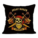 SKDJFBUD Emvency Decor Flax Throw Pillow Covers Case Brown Adventure Stories Pirate...