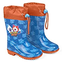PERLETTI Yo Kai Watch Rain Boots for Kids - Official Yo-Kai Waterproof Wellies Shoes with Anti Slip Outsole - Blue Wellington Boys with Anime Characters - Blue and Red - 4 Size